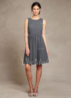 Bridesmaid Dresses - $79.67 - A-Line/Princess Scoop Neck Knee-Length Chiffon Bridesmaid Dress With Ruffle (0075058660)
