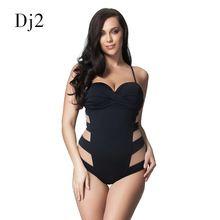 96244bd774a Sexy Transparent Mesh Plus Size Swimwear Women One Piece Bandeau Swimsuit  Push Up Bathing Suit High