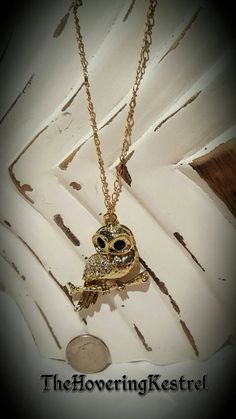 Large Gold Owl on branch necklace gold and by TheHoveringKestrel