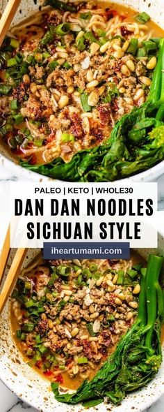 Dan dan noodles (dan dan mian) with saucy dan dan noodle sauce is a flavor explosion that's beyond delicious and easy to make! #paleorecipes #whole30recipes #ketorecipes #dandanmian #dandannoodles Whole30 Dinner Recipes, Paleo Recipes, Asian Recipes, Real Food Recipes, Cooking Recipes, Pickled Mustard Greens, Best Keto Meals, Recipes Appetizers And Snacks, Nutrition And Dietetics