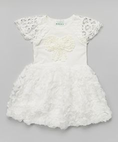 Look what I found on #zulily! White Rosette Bow Angel-Sleeve Dress - Toddler & Girls by Ruffles by Tutu AND Lulu #zulilyfinds