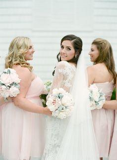 Bride and her elegant bridesmaids: http://www.stylemepretty.com/little-black-book-blog/2016/09/23/elegant-ivory-sage-long-island-wedding/ Photography: Elena Wolfe - http://elenawolfe.com/