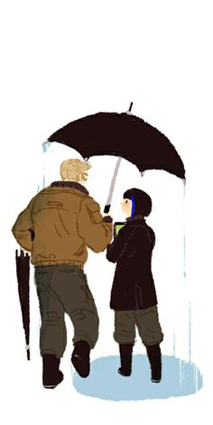 Mako Mori & Raleigh Becket.  Awww they're sharing an umbrella even tho they have two!!!! #pacificrim #fanart  artist: http://mirodnis.tumblr.com/post/62697045868/raleigh-and-mako