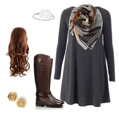 """Swing dress, blanket scarf, and Tory Burch"" by kholt8 on Polyvore featuring BP. and Tory Burch"