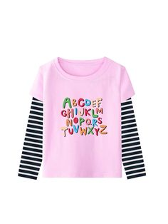 Girls Letter Graphic Striped 2 In 1 Tee 2 In, My Girl, Lettering, Sweatshirts, Tees, Girls, Sweaters, Fashion, Moda