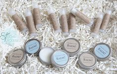 """""""Our love is the BALM!"""" is what these cute labels read. Put them onto your favorite lip balm for a personal and useful wedding favor! Source: Something Turquoise"""