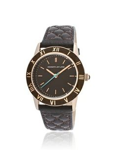 Kenneth Jay Lane Women's 3402 Brown Quilted Leather Watch