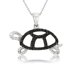 $14.99 - Black Diamond Accent and Sterling Silver Turtle Pendant