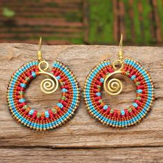 Waxed cotton earrings with shaped brass by cafeandshiraz on Etsy