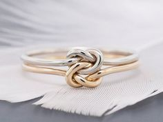 awesome 14k gold ring, engagement ring, promise ring, wedding ring, double love knot rin...