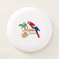 Maui Hawaii Tropical Island Parrot Wham-O Frisbee - tap/click to get yours right now! #WhamOFrisbee #maui, #maui #hawaii, #hawaii #islands,