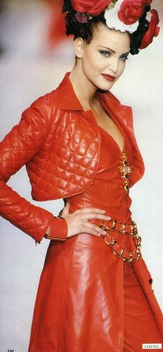 Chanel red leather - cropped jacket in classics quilted pattern + dress + gold accents