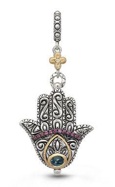 Hamsa Charm – Diamond, London Blue Topaz & Pink Garnet – Barbara Bixby