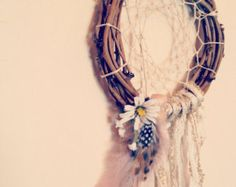 8 inch natural hippie dream catcher made to order // boho chic native american dreamcatcher with feathers and flowers