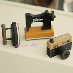 Set of 3 Vintage Style Rubber Stamps Sewing Machine Iron Camera Novelty Gift