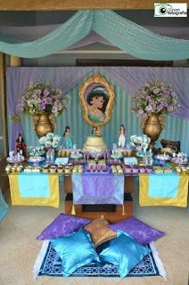16 Best Ideas For Birthday Themes Girls Disney Princess Jasmine Jasmin Party, Princess Jasmine Party, Princess Theme Party, Disney Princess Party, Princess Birthday, Girl Birthday Themes, 6th Birthday Parties, Birthday Decorations, Aladdin Birthday Party