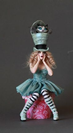 I Can't Believe You're NOT Human - Magickal Sculptures by Nicole West Fantasy Art. Mad Hatter & Cheshire Cat
