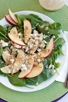 Spinach Apple Salad with Honey Mustard Vinegarette. For vegan I leave off the bleu cheese and add candies pecans or walnut