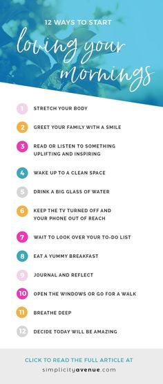 12 simple habits for creating a joy-filled morning routine. Start your day happy and full of positivity and purpose. Intentional living   Creating good morning habits   How to be happy everyday