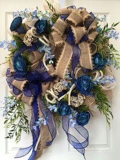 Everyday Wreath Non seasonal Blue Mesh Wreath by WilliamsFloral