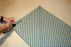How to cut bias strips for piping and banding and how to cut fabric on the bias.