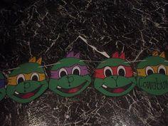 DIY teenage mutant ninja turtle TMNT birthday banner decor