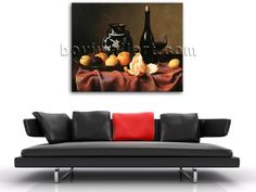 Elegant designed 1-panel Giclee high-resolution canvas wall print with food and beverage in still life style. It is available in numerous sizes to fit any size room!