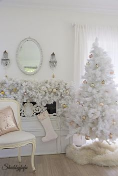 Bedroom decorated for Christmas in white this year from Shabbyfufu.
