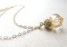 Golden Quartz Necklace  Quartz Cube Necklace by JemsbyJBandCompany
