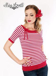 MIA_08 rot/weiß Streifen Sailor Shirt von MISS LOVETT® - Mit Liebe handgefertigt seit 2011 auf DaWanda.com