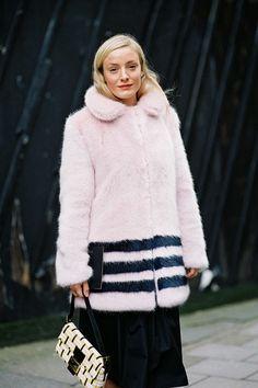 Vanessa Jackman: London Fashion Week AW 2014....Kate Foley pretty in pink furry coat #StreetStyle