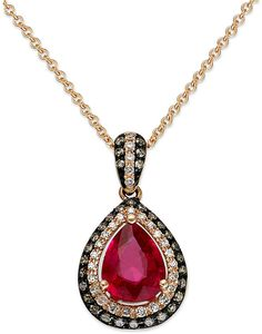Red Velvet by EFFY Ruby (1 ct. t.w.) Brown (1/8 ct. t.w.) and White Diamond (1/10 ct. t.w.) Pendant in 14k Rose Gold