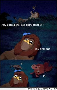 Hey Simba, what are stars made of?