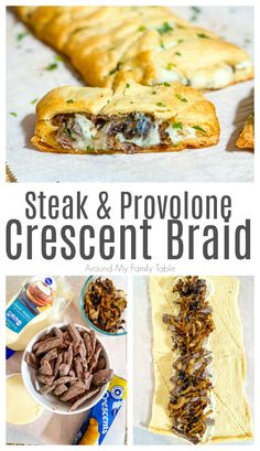 This Steak & Provolone Crescent Braid is the perfect blend of leftover steak, caramelized onions, and lots of gooey provolone that's perfect for a Sunday lunch or simple weeknight supper. It would make a great party appetizer too! Leftover Steak Recipes, Leftovers Recipes, Beef Recipes, Cooking Recipes, Game Recipes, Chicken Recipes, Steak Appetizers, Appetizer Recipes, Supper Recipes