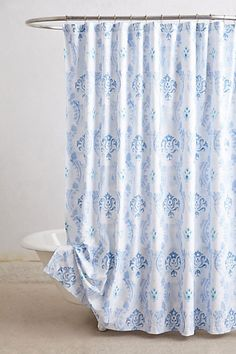 Portel Shower Curtain #anthropologie (Blue Motif)