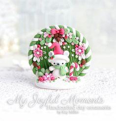 Handcrafted Polymer Clay Christmas Polar Bear Scene