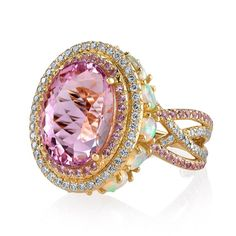 Simply gorgeous imperial pink topaz, pink sapphire and opal ring by Erica Courtney