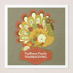 Modern Graphic Turkey Art Thanksgiving Holiday Paper Dinner Napkin