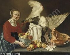ODEKERKEN (ODEKERCKE) Willem van, ¥1677 (Netherlands) Title : A kitchen maid holding a porcelain bowl with apples, standing by a table with a goose and a pig's head ( 1636 -  1698 )