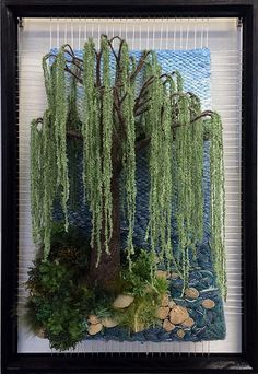 At TheWaters Edge par Dimensional Weaving. Weaving Textiles, Weaving Art, Weaving Patterns, Loom Weaving, Tapestry Weaving, Moss Wall Art, Moss Art, Landscape Art Quilts, Weaving Wall Hanging