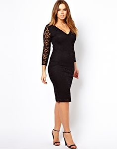 Image 4 of ASOS CURVE Body-Conscious Midi Dress In Lace