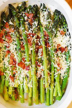 Asiago, Bacon, and Garlic Roasted Asparagus
