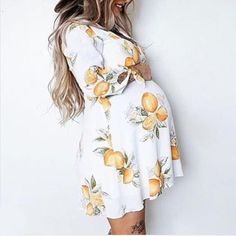Maternity Lemon Tie Cuff Dress