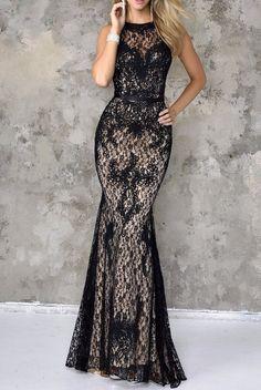 Nina Canacci Beautiful Black Lace Gown Dress 4103 Rent $110 Buy $390