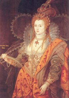 Elizabeth I: The Rainbow Portrait, c1600, by Isaac Oliver. This portrait can be viewed at Hatfield House. Oliver was a pupil of Elizabeth's favorite court painter, Nicholas Hilliard, and the brother-in-law of Marcus Gheeraerts the Younger. Some historians have argued that Gheeraerts painted this portrait, but most favor Oliver.    Elizabeth's gown is embroidered with English wildflowers, thus allowing the queen to pose in the guise of Astraea, the virginal heroine of classical literature…
