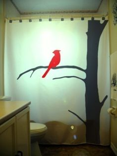 Red Cardinal SHOWER CURTAIN Tree Bird Nature Bathroom Decor Extra Long Fabric Available In 84 96 Inch Custom Size