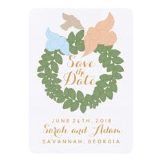 Birds and Greenery Wreath Save the Date Card - spring gifts beautiful diy spring time new year