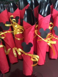 Mickey mouse napking wraps mickey mouse birthday theme first birthday party silverware ideasmickey mouse silverware ideas