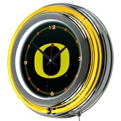 Oregon Ducks Chrome Double Rung Neon Wall Clock Carbon Fiber Football New  #Traditional