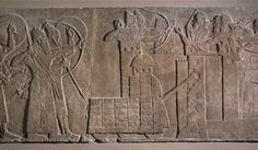 Ashurnasirpal II besieging a strongly-walled town which is being defended by archers, wall panel relief, North West Palace, Nimrud, Kalhu, Iraq, neo-assyrian, 865BC-860BC